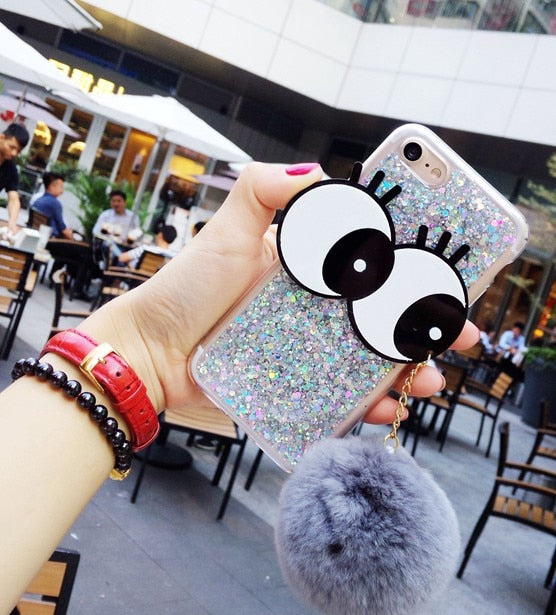 Luxury Fashion Glitter 3D Eyes Fluffy Plush Fur Hairball Cover For Iphone 7 7plus 6 6s Plus 6plus 8 8Plus For Iphone XS MAX Case