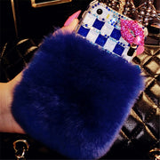 Luxury Fox Head Bling Warm Soft Beaver Rabbit Fur Hair Phone Cases For IPhone X XS MAX XR 5 5C 6 7 8 Plus Protective Phone