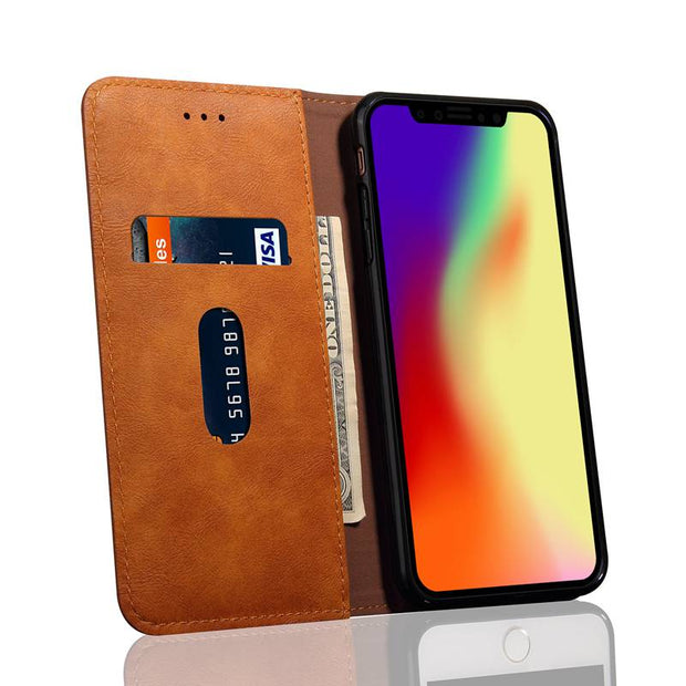 MAKEULIKE Flip Case For IPhone XS Max XR Wallet Case Adsorption PU Leather Phone Bag Cases For IPhone XR XS Max Capinhas