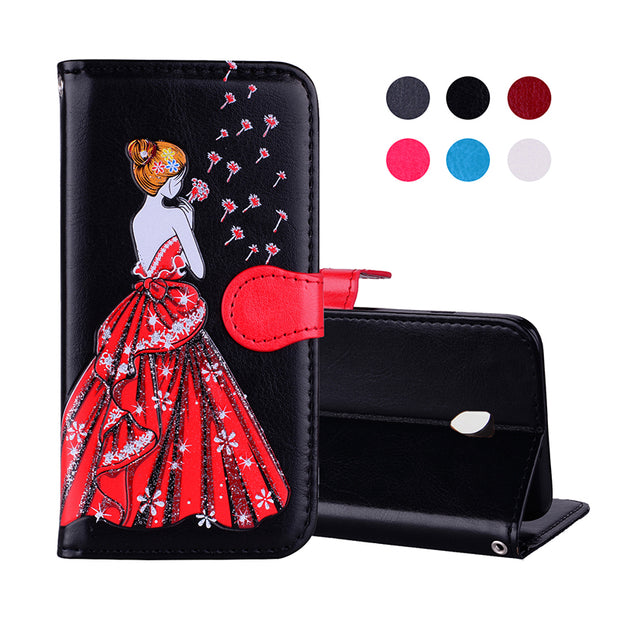 Magnet PU Leather Case For Samsung Galaxy J5 2017 J7 2017 Coque Hoesje Dress Girl Leather Cover J3 2017 Etui Kryt Funda Tok Husa