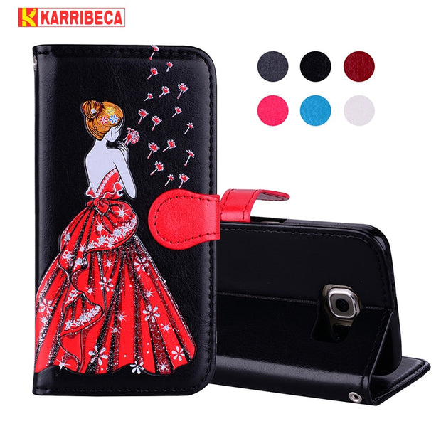 Magnet Book PU Leather Case For Samsung Galaxy S6 Coque Hoesje Dandelion Girl Leather Cover S6 Edge Etui Kryt Funda Tok Husa