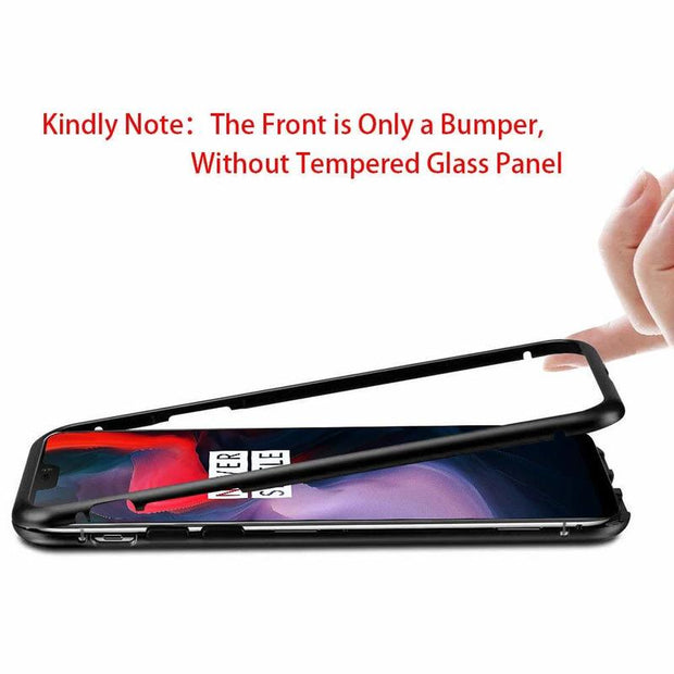 Magnetic Adsorption Case For OnePlus 6 9H Tempered Glass Phone Case Metal Bumper Magnet Hard Case For One Plus 6 Clear Cover