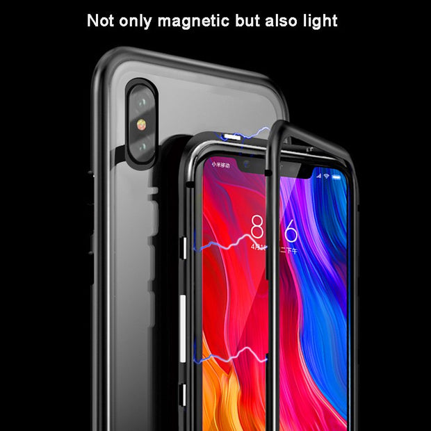 Magnetic Adsorption Case For Xiaomi Mi 8 Luxury Aluminum Metal Bumper Tempered Glass For Xiaomi Mi8 Case Cover Screen Protector