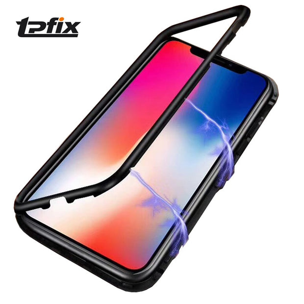 Magnetic Adsorption Case For IPhone X 8 7 6S Plus Tempered Glass Magnet Metal Cover For IPhone 7 Plus 8 Plus 6 Ultra Phone Cases