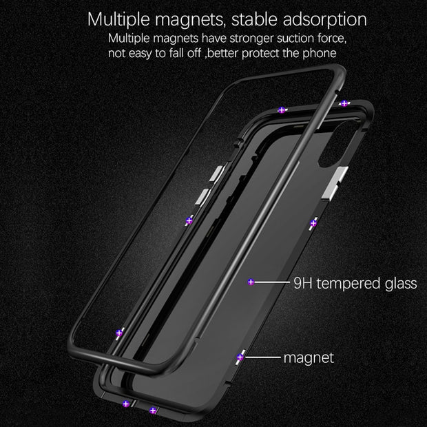 Magnetic Adsorption Flip Case For IPhone X 8 Plus 7 Plus Tempered Glass Back Cover Luxury Metal Bumpers For IPhone 6 S Hard Case