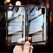Magnetic Adsorption Metal Case For IPhone X XS 7 8 Plus Magnet Tempered Glass Phone Cases For IPhone XS Max 8 7 Clear Flip Cover
