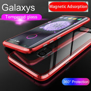 Metal Magnetic Adsorption Case For Samsung Galaxy S8 S9 Plus Note 8 Tempered Glass Magnet Case For Galaxy S8 + S9+ Ultra Cover