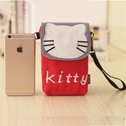 Mini Women Neck Phone Bag For Iphone 8 Clip Hanging Universal 6 5.5 4.7 Inch Canvas Cute Mobile Pouch Shoulder