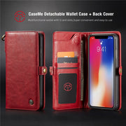 Multi-Function Flip Leather Wallet Case For IPhone XS Max XR 7 8 Plus Case Removable Magnet Hard Case For IPhone X S XS Cover
