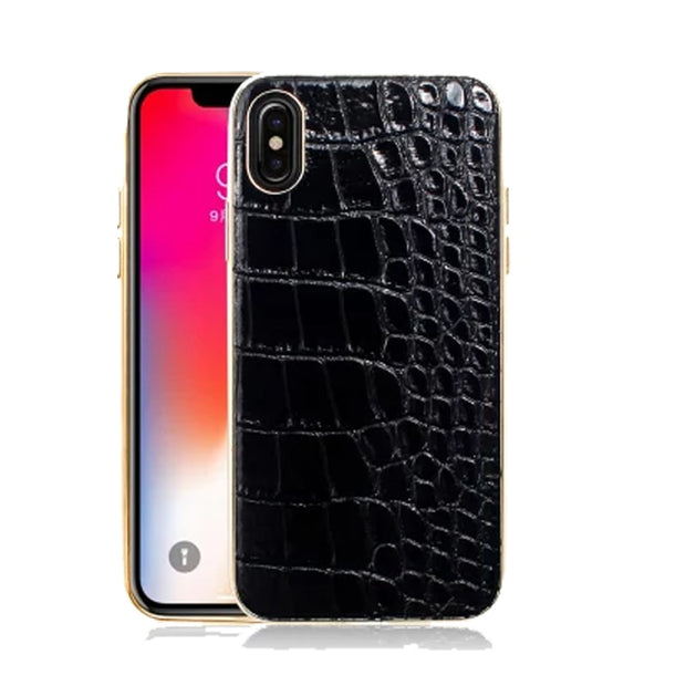 Mutural Genuine Leather Back Case For IPhone 7 8 Plus X Cover Luxury Alligator Print Phone Bags Cases For IPhone 7 8 X P Case