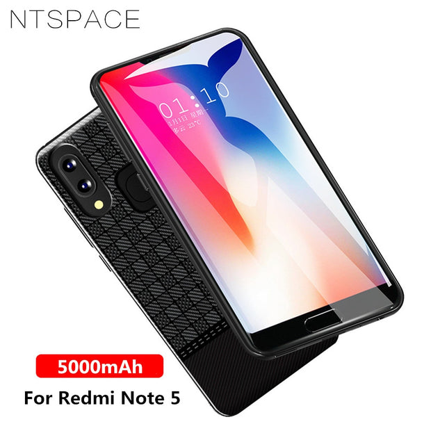 competitive price f4fd1 afb9d NTSPACE 5000mAh Battery Charger Cases For Xiaomi Redmi Note 5 Power Case  Portable Power Bank Back Clamp Battery Charging Cover