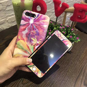 New Colorful Clouds Case + Screen Protector Tempered Glass Case For IPhone 7 8 Plus Back Cover Case For Apple IPhone 6 6s Plus
