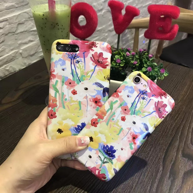 New Colorful Flower Cases + Screen Protector Tempered Glass Case For IPhone 7 8 Plus Back Cover Case For Apple IPhone 6 6s Plus