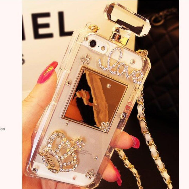 New Luxury Diamond Crystal Perfume Bottles Shaped Chain Handbag Cover For Apple IPhone 7 / 7g 4.7 Inches IPhone8 Phone Case