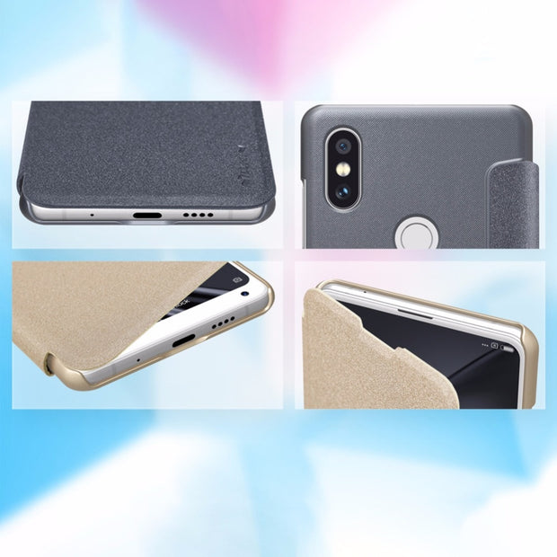 Nillkin Sparkle PU Leather Case Flip Cover For Xiaomi Mi Mix 2s Case Xiaomi Mi Mix 2s With Smart Cover Sleep Function