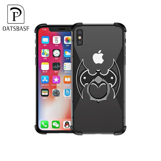best website 26ea2 3ab53 OATSBASF Bat Shape Metal Airbag Case For IPhone XS Max XR XS X Case With  Ring Holder Bat Ring Bracket Shell Metal Bumper Cover