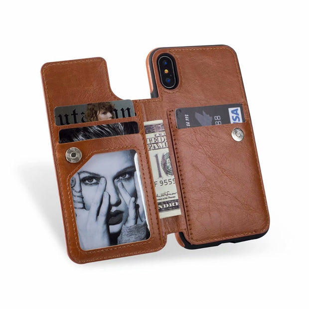 PU Flip Leather Case For IPhone X XR XS Max 9 8 7 6S Plus Card Holders Case Cover For IPhone X Zipper Wallet Phone Shells