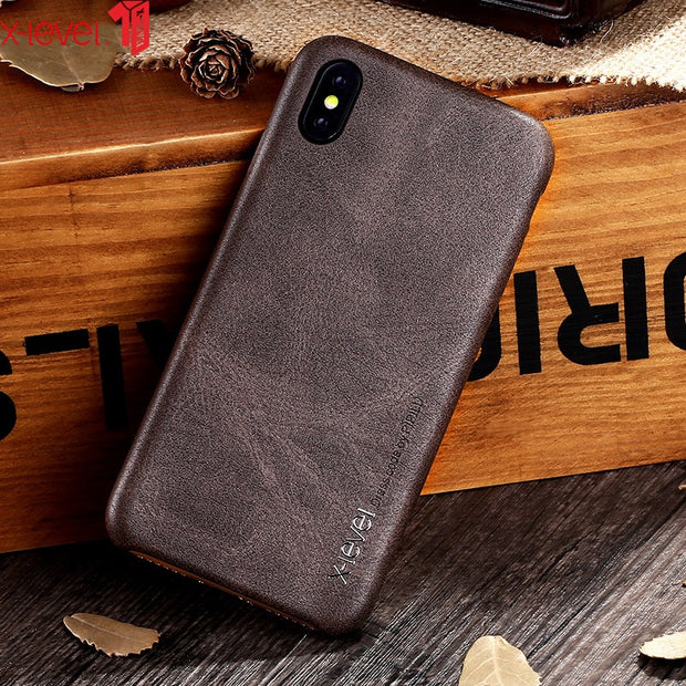 PU Leather Case For IPhone XR XS Max Cases X-Level Original Luxury Ultra Light Business Vintage Cover Case For IPhone X XS