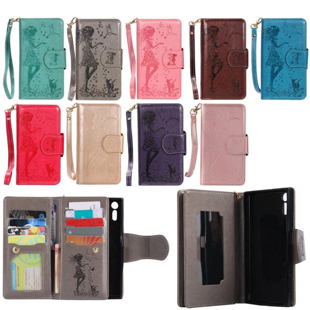 PU Leather For LG K7 K8 K10 Embossed Woman And Cat Wallet Mirror Cover Protective Phone Bag For LG Nexus 5X X Power 5.3'Shell
