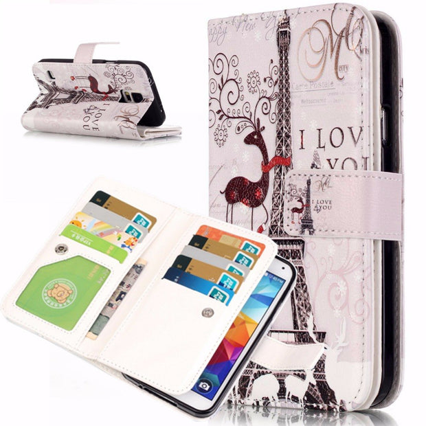 Painting Leather Case Flowers Flip 9 Card Slot Wallet Stand Phone Cover Fundas Para Coque For Samsung Galaxy S5 I9600 Carcasa