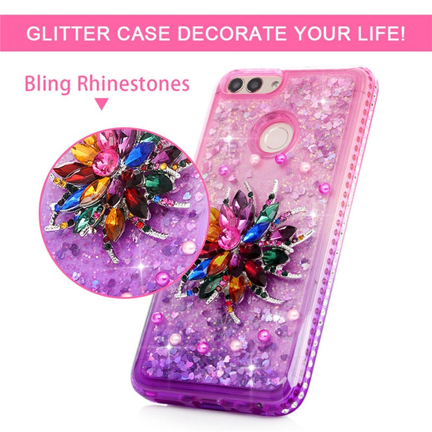 Phone Cases Cover For Huawei P20 Lite Quicksand Liquid Soft Gradient Diamond Flower Back Covers Capa Fundas For Huawei P20 Lite
