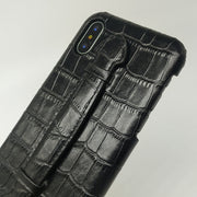 Phone Cases For IPhone X XS 10 Real Genuine Leather Crocodile Hand Strap Holder Back Cases Luxury Ultra Thin Slim Hard Cover