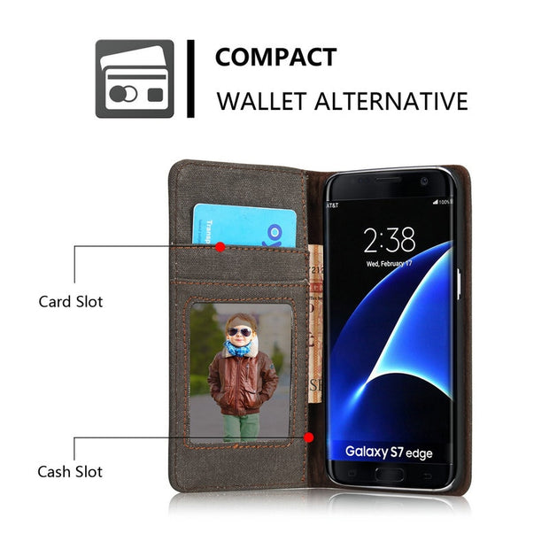 Phone Cases For Samsung Galaxy S7 Edge Cover Jean PU Leather Wallet Case Magnetic Flip Stand Mobile Phone Bag Cqoue Fundas