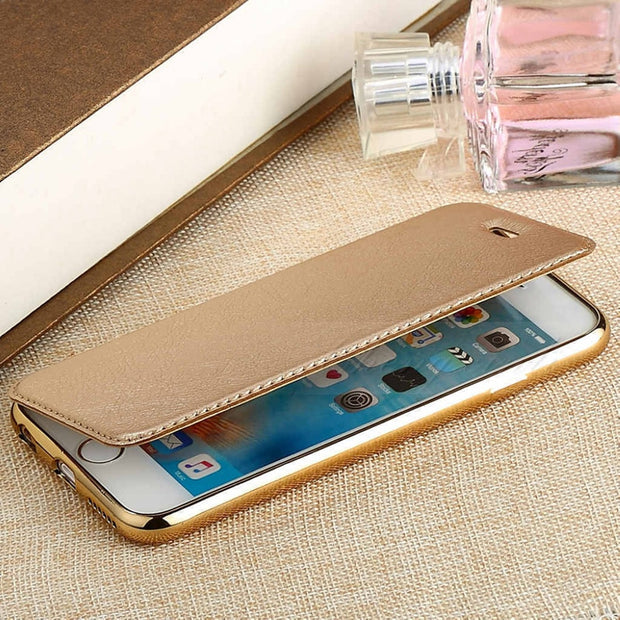 Plating Silicone Leather Wallet Case For IPhone 7 Slim Leather TPU Flip Cover Skin Card Holder Slot Case For Apple IPhone 7 Plus