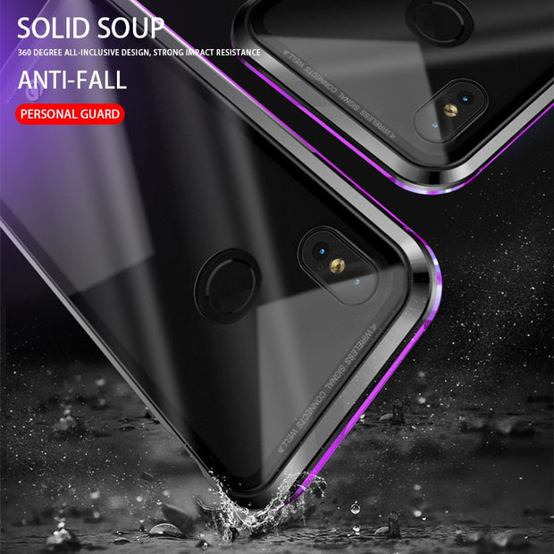 Portefeuille Magneto Magnetic Adsorption Metal Case For Xiaomi8 Case Luxury Tempered Glass Cover For Xiaomi Mi8 MI8 Coque Shell