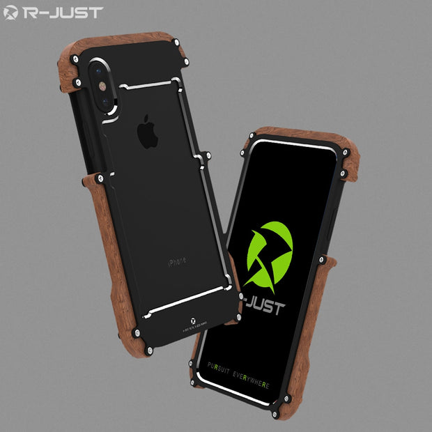 R-Just For Apple IPhone X Case Cover Luxury Hard Metal Aluminum Wood Protective Armor Phone Case For IPhone X Back Cover Funda