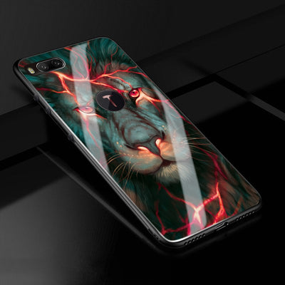 R1 Case Chinese Dragon Lion Wolf World Anti-explode Tempered Glass Back Cover Shock-Proof Case For For Smartisan Hammer Nut R1
