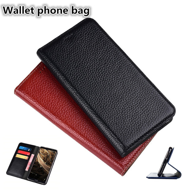 RL11 Genuine Leather Wallet Phone Bag With Card Holders For LG Stylo 4 Flip  Case For LG Stylo 4 Cover Free Shipping
