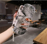 Rabbit Hair Phone Case For Huawei Honor 7X 10 Nova 2 P10 P20 Bling Rhinestone Fur Fluffy Warm Case For Huawei Honor Mate 9 10