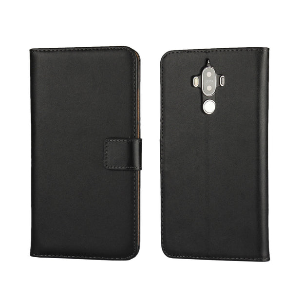 Real Genuine Flip Leather Wallet Case For Huawei Mate9 With Stand Function & Card Holders