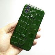Real Genuine Leather Case For IPhone X XS Max XR 7 8 Plus Phone Luxury Crocodile Hand Strap Ultra Thin Slim Hard Cover Solque