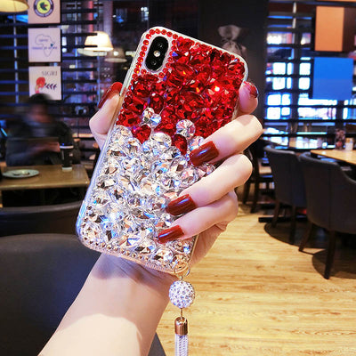 Red Black Pink Luxury Rhinestone Diamond Case For Huawei Honor V10 7X 9 6A V9 5A V8 8 7I 6 Plus 5X 4X Clear TPU Crystal Case