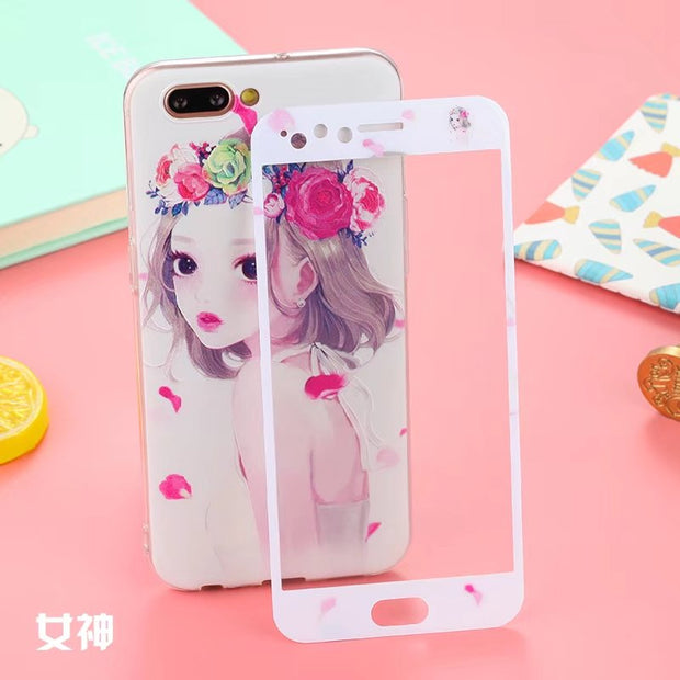 Relief Painted Hello Kitty & Cartoon Pattern Soft Phone Case Cover + Front Glass Screen Protector For Oppo R11 Protective Coque