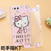 Relief Retro Painted Rose Hello Kitty Pattern Soft Phone Case Cover + Front Glass Screen Protector For Xiaomi 6 Protective Coque