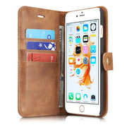 Removable Back Cover Leather Case For Apple IPhone 6 Plus, 6S Plus Metal Buckle With Card Slots Fundas +Free Screen Protector