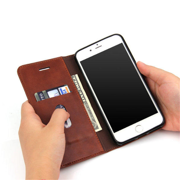 Retro Leisure Flip PU Leather Wallet Case For IPhone On 7 Plus 5.5 Inch Coque Shell Phone Bag Stand Cover With Card Holder On 7P