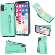 Retro PU Leather Case For IPhone X IX Card Slot Holder Ziper Cover For IPhone X 10 8 7 6 Plus Luxury Protective Back Fundas