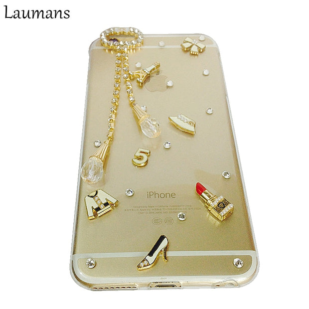 Rhinestone Transparent Case For Iphone X XS MAX XR 6S 7 8 PLUS Protective Cover For SE 5C Pendant Handmade Clear Diamond Cases
