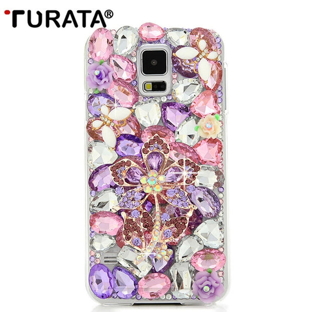 S5 Rhinestone Case Luxury Bling 3D Capa Funda Diamond Glitter Crystal Transparent Hard Plastic Back Cover For Samsung Galaxy S5