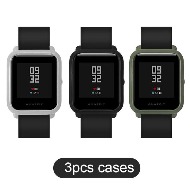 SIKAI 3 Pcs PC Case For Huami Amazfit Bip Bit Youth Edition Protective Case For Xiaomi Huami Amazfit Original Watch Case