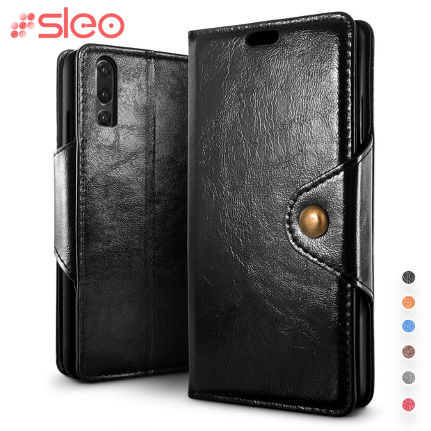 SLEO For Huawei P30 P30 Pro Case Luxury PU Leather Flip Case For Huawei P30 Pro P30 Wallet Stand Silicone Phone Cover Cases