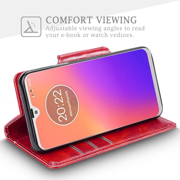 SLEO For Motorola Moto G7 Case Luxury PU Leather Flip Case For Motorola Moto G7 Wallet Cover 360 Full Protection Phone Cases