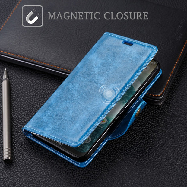 SLEO For Motorola One Power Case Luxury PU Leather Flip Case For Motorola Moto One Power /P30 Note Wallet Stand Phone Cover 6.2""