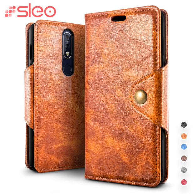 SLEO For Nokia 7.1 Case PU Leather Flip Case For Nokia 7.1 360 Full Protection Wallet Cover For Nokia 7.1 5.84""