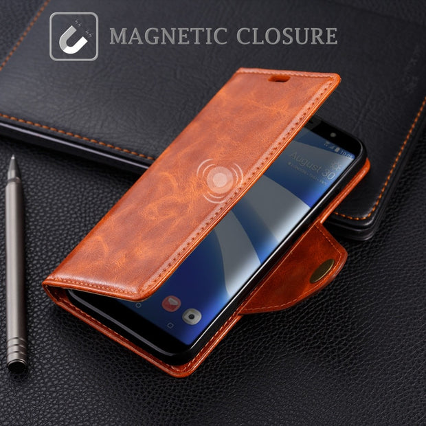 SLEO PU Leather Case For HTC U12 Life Case Wallet Stand Flip Case For HTC U12 Life Business Cover Card Holder