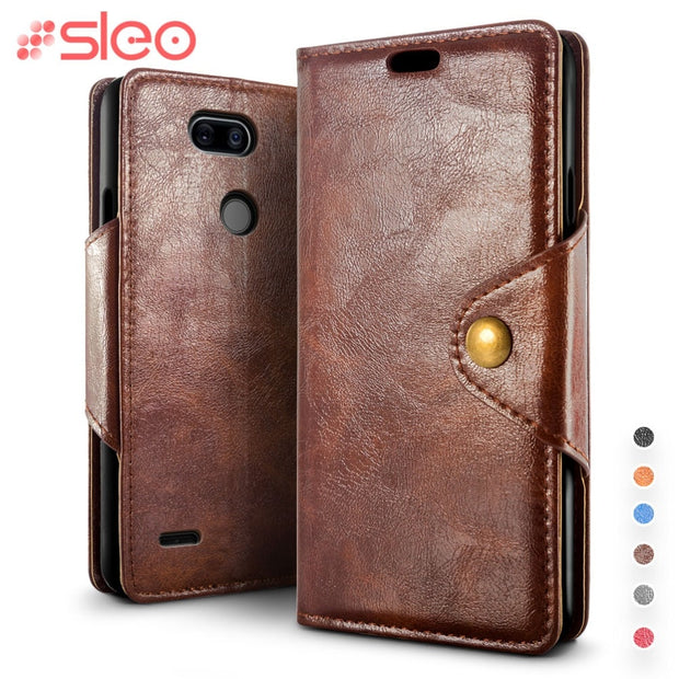 SLEO Retro PU Leather Case For LG X Power 3 Case Luxury Wallet Stand Flip Cover For LG X Power 3 Cases With Card Slot